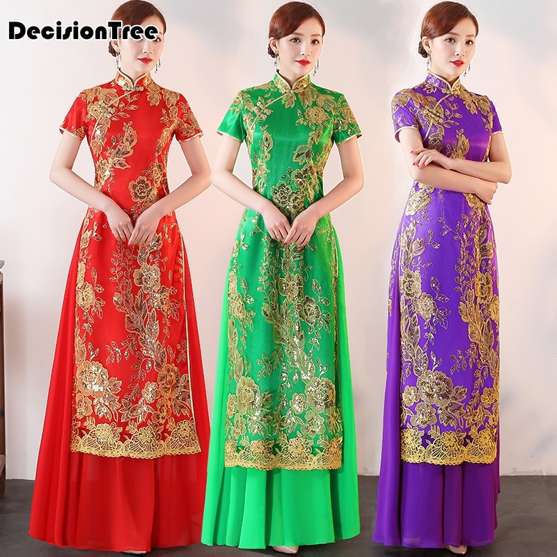 2019 Woman Chiffon Aodai Vietnam Traditional Clothing Ao Dai Vietnam Dress Women Dresses Improved Cheonsam