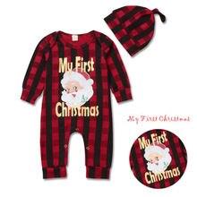 Комплект из 2 предметов, клетчатая шляпа Санта Клауса для новорожденных мальчиков и девочек 1-4 лет+ комбинезон+ штаны, комплекты одежды для детей 0-24 месяцев