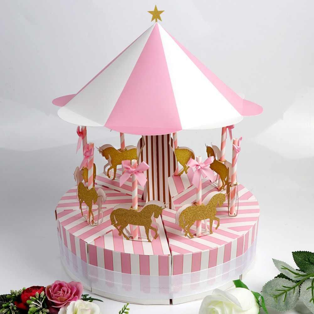 OurWarm ייחודי קרוסלה סוכריות תיבת עבור Unicorn מסיבת מתנת יום הולדת קישוטים למסיבת חתונה טובה ומתנות מזכרות לאורחים