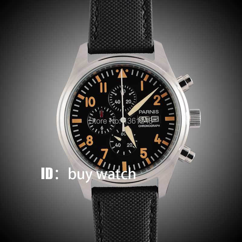 42mm parnis black dial orange numbers gun big week vintage style day date quartz Full chronograph mens watch 133 цена и фото