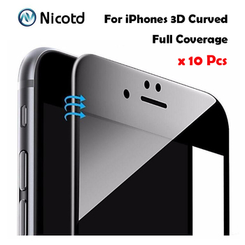 Nicotd 10pcs/lot 3D Curved Carbon Fiber Soft Edge Tempered Glass For iPhone 6 6s Plus 3D full Screen Protector For iPhone 7 Plus