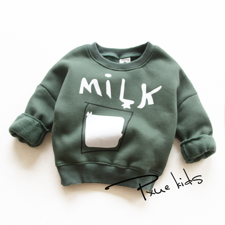 Boys winter warm sweatershirts round collar letter print trendy thick girls clothes 2016 fashion child clothing kids hoodies