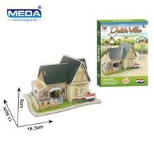 Cardboard 3D Puzzle Toy Dutch Style Villa Model European Style Buildings Assembly  Kits Educational Toy For Children Christmas