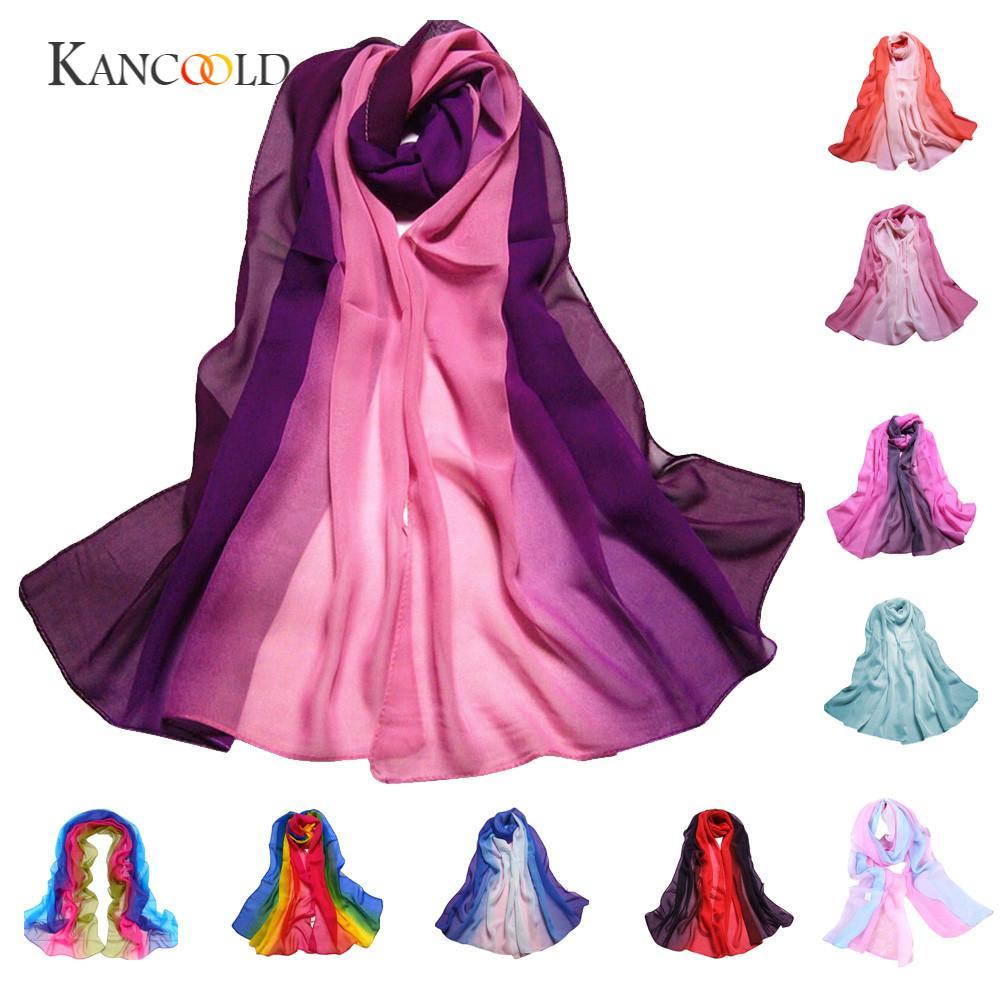 KANCOOLD silk scarf shawl lover Unique Style Fashion Lady Gradient Color Long Wrap Womens Shawl Chiffon Scarf Scarves JAN18