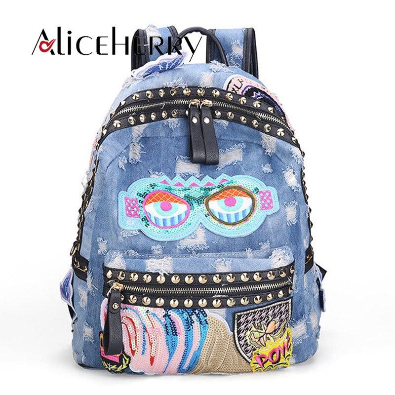 Rock Style mode femmes Denim épaule sac à dos décontracté sacs Vintage Demin bleu Bolsa grands sacs de voyage