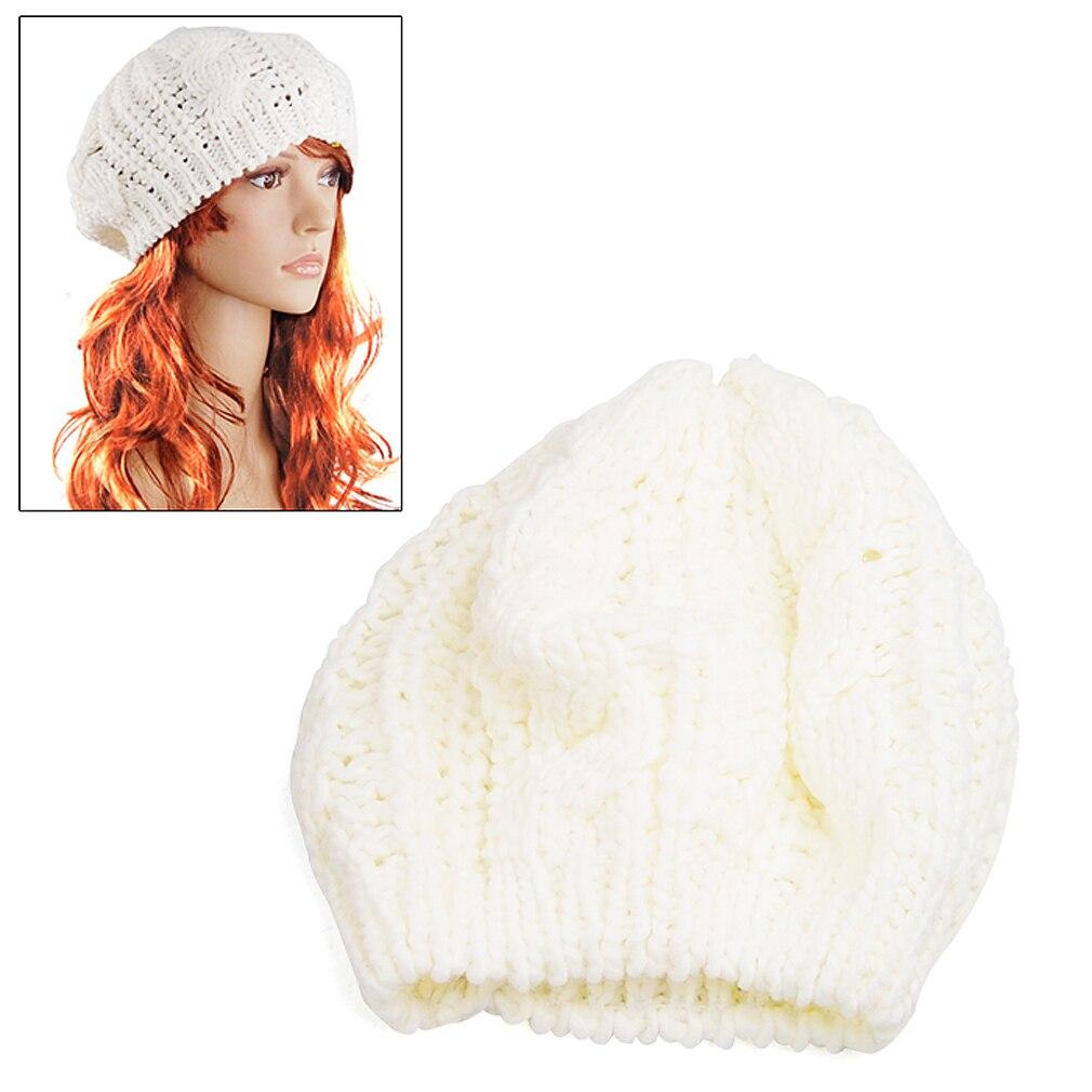 NEW Ladys Warm Knit Braided Ski Cap Baggy Beanie Crochet Hat - White