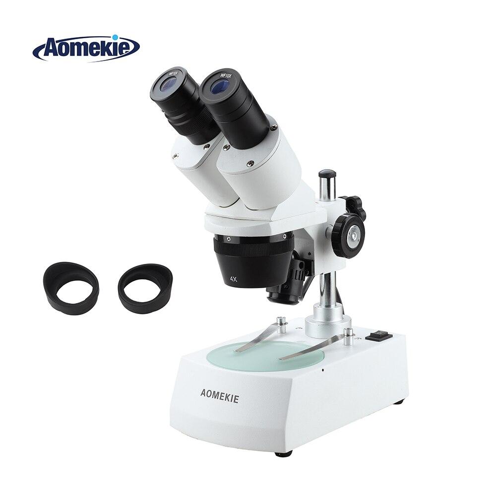 AOMEKIE 20X 40X Industrial Stereo Microscope Binocular Top Bottom LED Illumination PCB Soldering Phone Repair Tool