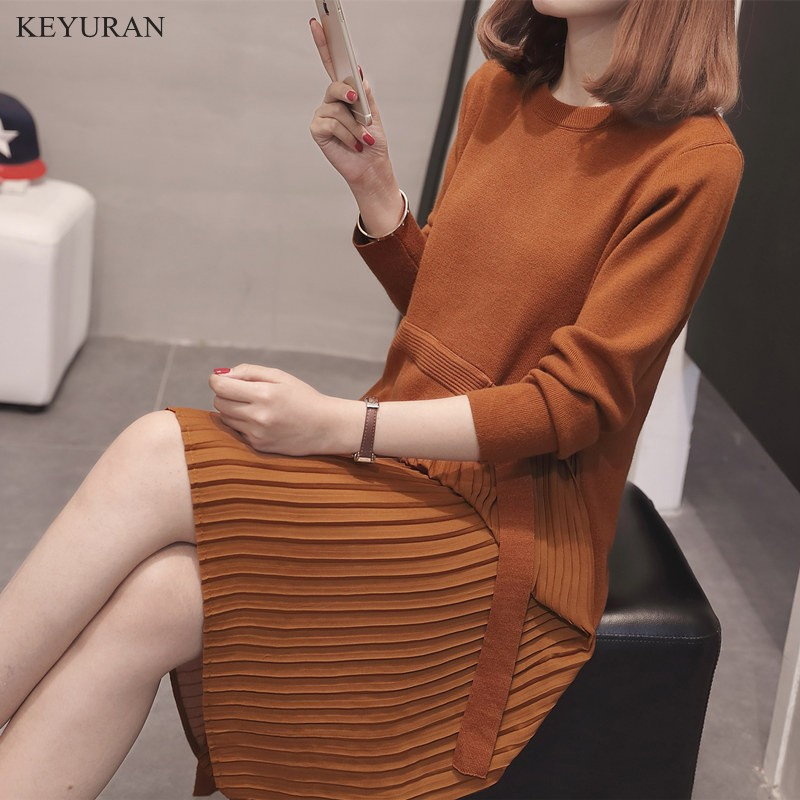 2018 Spring Autumn New Big Size Women Pleated Hem Knit Dress Long Sleeve O Neck Loose Sweater Dress Women Oversize XXXL L1664