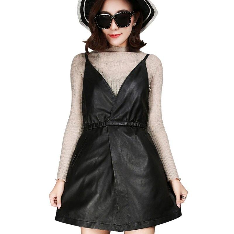 2018 New Fashion Women Sheepskin Genuine Leather Suspender Straps Dress Slim Fit Preppy V Neck Mini Length Prom Party Vestidos