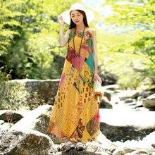 LZJN Random Patchwork Beach Dress 2018 Summer Long Sundress Cotton Vestidos Chic Robe Femme Bohemian Women Tank Maxi Dresses