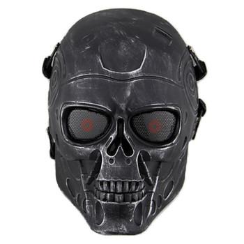цена на Terminator T800 Skull Tactical Mask Airsoft Mesh CS Wargame Accessories Cosplay Military Army Full Face Paintball Masks