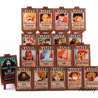 18pcs/set Hot Toy Anime One Piece Action Figure Luffy Nami Zoro Sanji Chopper Wanted Posters Photo Frame Collectible Toy