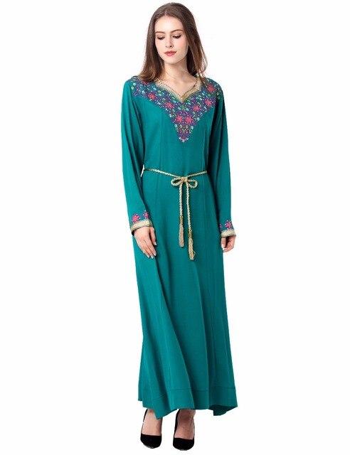 Мусульманские женщины Кафтан Макси Длинное Платье с длинным рукавом марокканский одежды Исламский абая арабские дубай jalabiya осень Халат женщины платье 1626