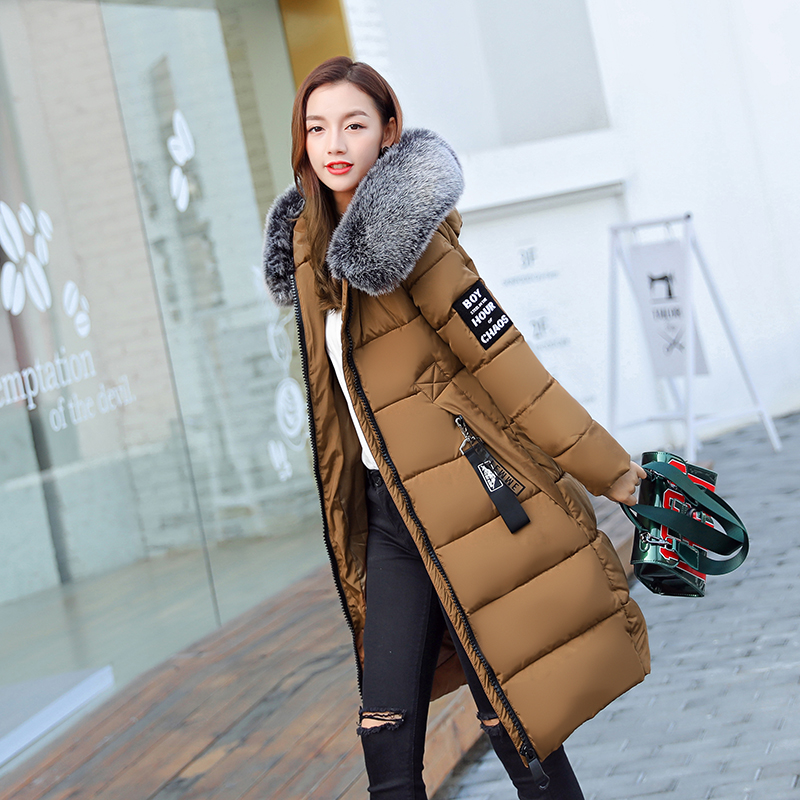 2017 Winter Jacket Coat Women Parkas Long Fashion Fur Collar Female Warm Clothes Solid Outwear Windbreak Jacket Plus Size M-5XL 2017 winter new clothes to overcome the coat of women in the long reed rabbit hair fur fur coat fox raccoon fur collar