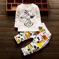 2016 new spring autumn set cotton baby suit Cartoon white T-shirt + trousers 2pcs children 1-3 years free shipping brand suits