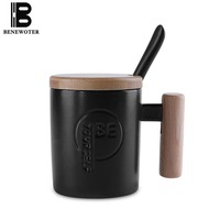 350 ml Creative Wooden Handgrip Coffee Cup Ceramic Mug with Spoon Lid Milk Cups Brief Office Tea Water Mugs Cafe Drinkware Decor