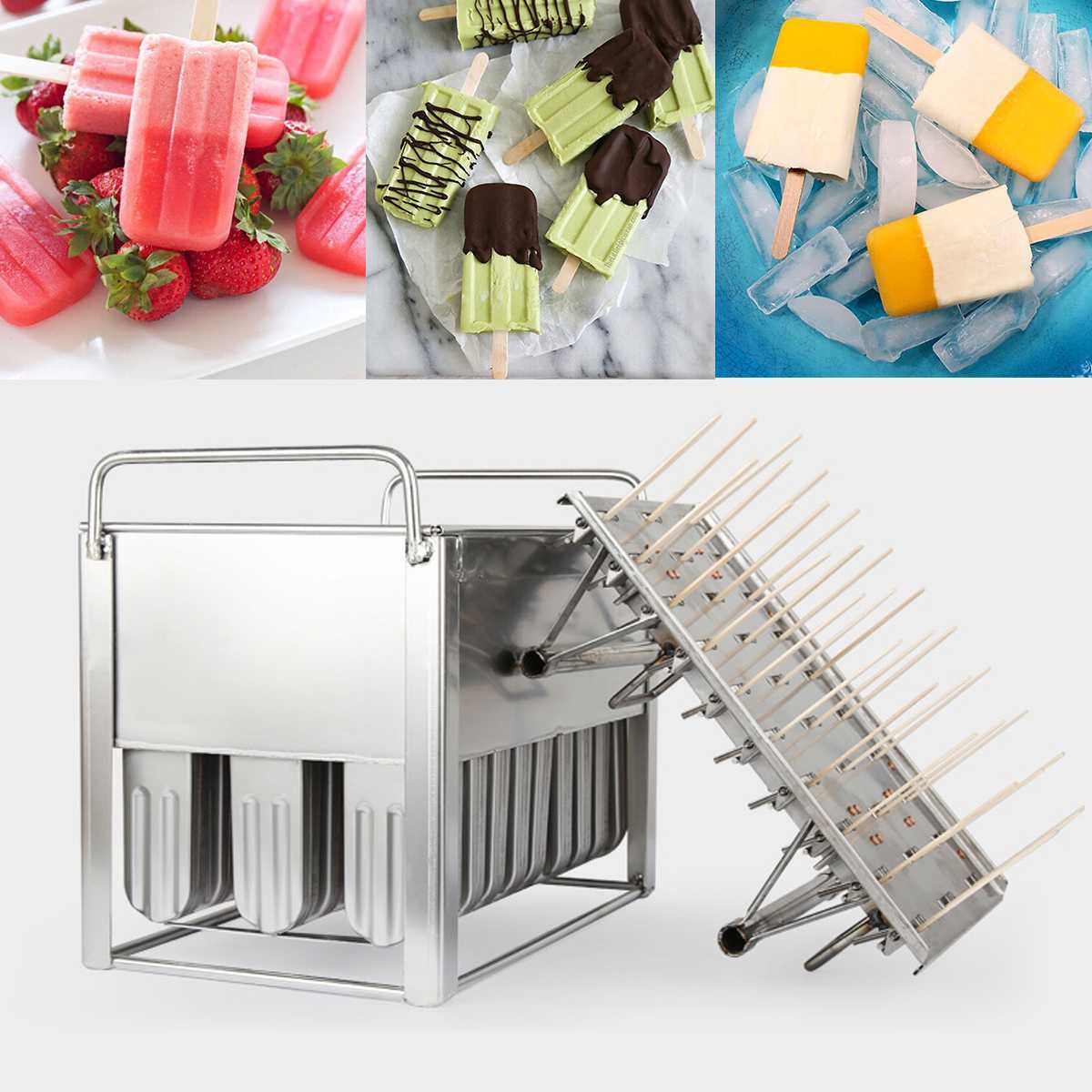 Stainless Steel Frozens 30pcs Ice Lolly Popsicle Molds Ice Cream Stick Holder Summer Home DIY Cream Round Flat Ice Pop Mould