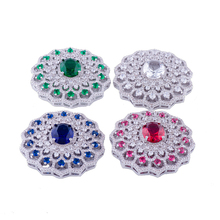 Micro Pave Colorful Cubic Zirconia Brass Jewelry Connectors Round Necklace Pendants For Women Handmade Pearls Necklace Making