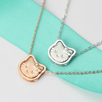 Sterling 925 Silver Hello Kitty Necklace Women Creative Lovely Pendant Fashion Rose Gold Color Female Jewelry for Lady Gift