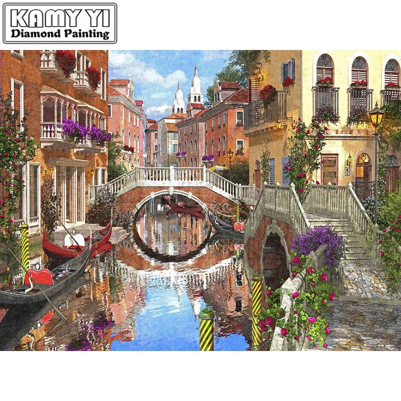 Full Drill Square Diamond 5D DIY Diamond PaintingBridge waterDiamond Embroidery Cross Stitch Rhinestone Mosaic Painting
