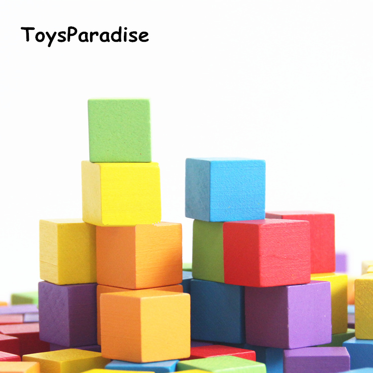 Baby Toys 100Pcs 2*2*2cm Square Building Blocks Cube Wooden Toys For Kids Educational Toys Multicolor Blocks Have Bag Gift