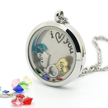 15% OFF!! 20/25/30MM * 2015 Round Pendant White Stainless Steel Glass Photo Twist Screw Living Lockets Pendentif Free Shipping
