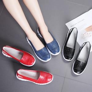 Image 5 - STQ 2020 Autumn Women Flat Shoes Genuine Leather Cutout Ballet Flats Shoes Flats Ladies Slip On Loafers Nurse Boat Shoes 7731