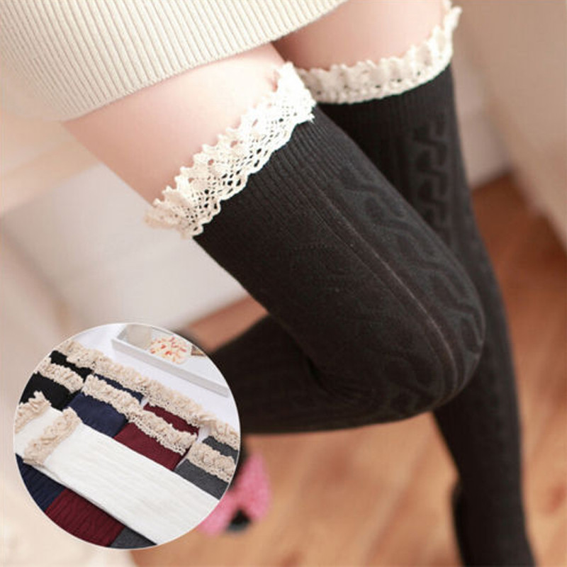 Fashion Autumn Winter Sexy Women Warm Long Cotton Leggings Over Knee Vertical Striped 2018 Female Ladies Lace Women Clothing