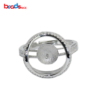 925 Sterling Silver Ring Setting Fit 7mm Round Bead Engagement Ring For Her ID31048