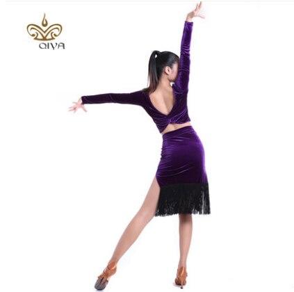 Lotynų Amerikos šokių suknelė seksuali šilkinio aksomo Lotynų - Menai, amatai ir siuvimas - Nuotrauka 5