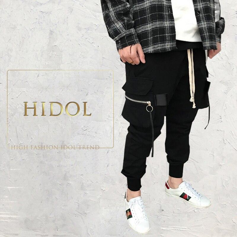 Jogger Harem Pants Pocket Cargo Sweatpants Zipper Elastic Drawstring Trousers Men Brand Gothic Military Hip Hop Black Kanye West