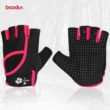 Boodun Women Cycling Gloves Half Finger Polyester Breathable Sport Gloves Sweat-absorbent Non-slip Yoga Fitness Dumbbell Gloves