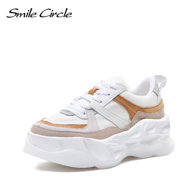 Smile Circle 2019 chunky Wedge Shoes Women Flat Sneakers fashion Lace up breathable Sneakers casual running