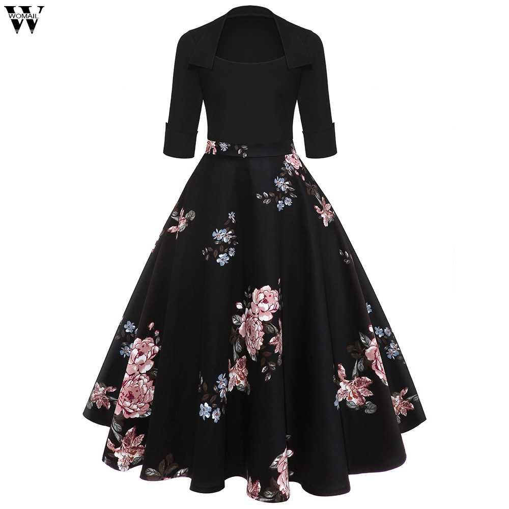 Womail, осень 2018, зимние платья для женщин, винтажное, рукав, Круглый ворот, вечернее, с принтом, для вечеринки, выпускного, свободное платье, Nov5