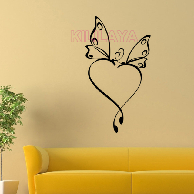 Butterfly Love Heart Mural Vinyl Wall Sticker Wallpaper for Living ...