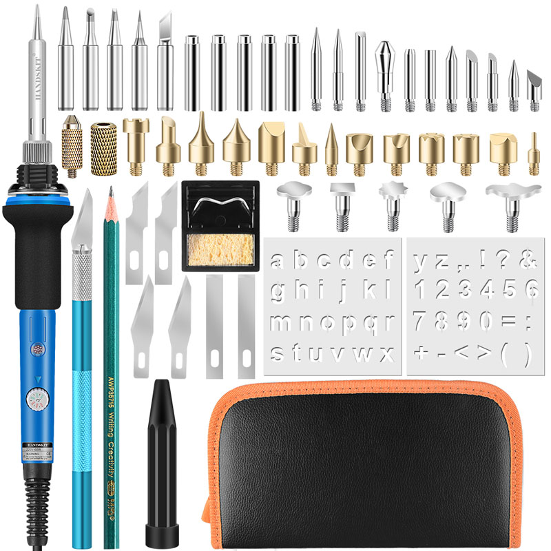Handskit Wood Burning Pen Set  40PCS 110V/220V 60W Electric Soldering Iron Woodburning Solder Pen Digital  Soldering Iron Tool