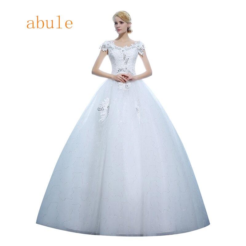 abule vintage wedding dress lace up crystal Bride wedding gown princess appliques beading cap sleeve vestido de noiva 2018