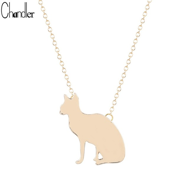 Chandle Silver Plated Cute Cat Kitty Pendant Necklaces For Women Invisible Chain Polish Plain Charm Animal Jewelry Femme Bijoux