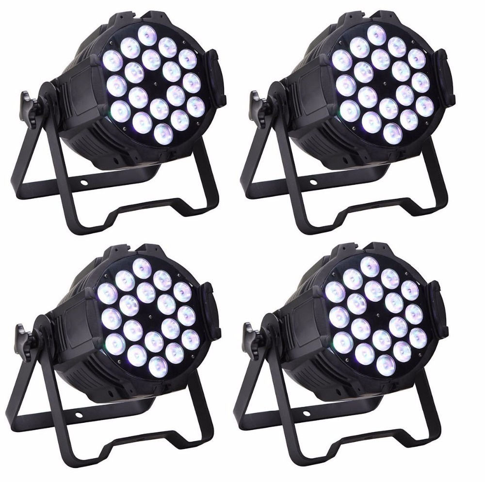 4XLot 18x10W 4in1 RGBW Led Par Light Professional Stage Lighting High Power LED Par Can With DMX512 DJ Disco Equipments