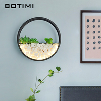 BOTIMI Modern 220V LED Wall Lamp For Living Room Decor Metal Wall Sconce White Bedside Lamps Round Wall Mounted Rooms Lights