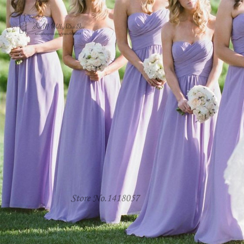 African Purple Lilac   Bridesmaid     Dresses   Long Vestido de Festa de Casamento Sweetheart Pleat Romantic Wedding Party   Dress