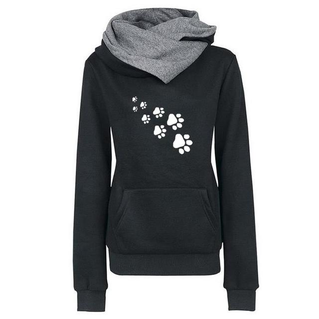 New Fashion Cat Dog Paw Print Sweatshirts Hoodies Women Tops Pockets Cotton Female Cropped Street Thick Winter Or Sping 2