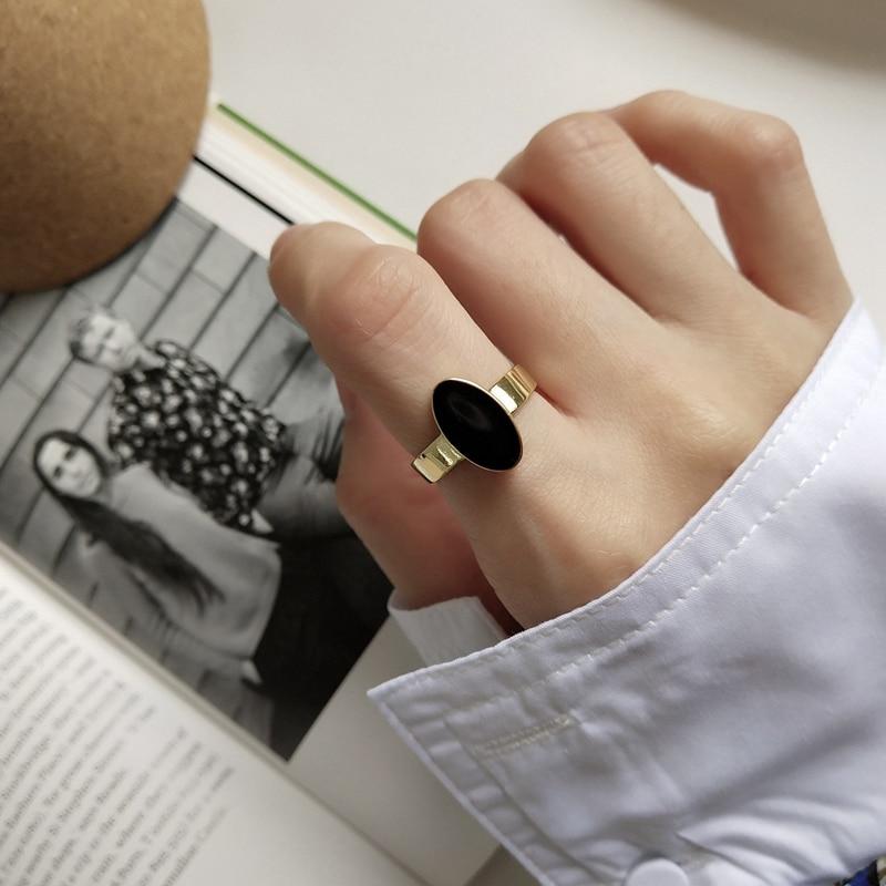 LouLeur 925 Sterling Silver Oval Drop Glaze Rings Gold Fashion Tenmperament Open Teature Rings For Women Elegant Jewelr Gift