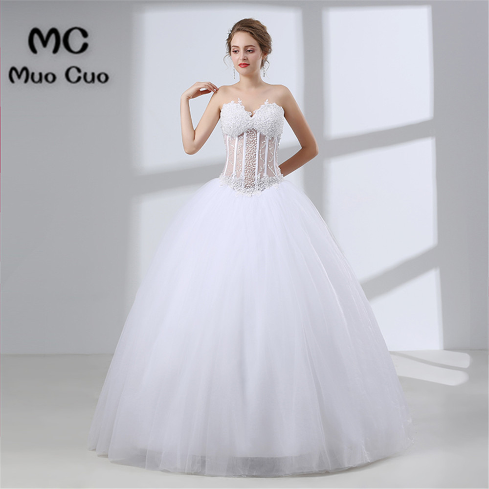Ball Gown 2018 Wedding Dresses With Pearls Sleeveless Robe De Mariage Bridal Gowns Vestido De Noiva Off Shoulder Bridal Gown