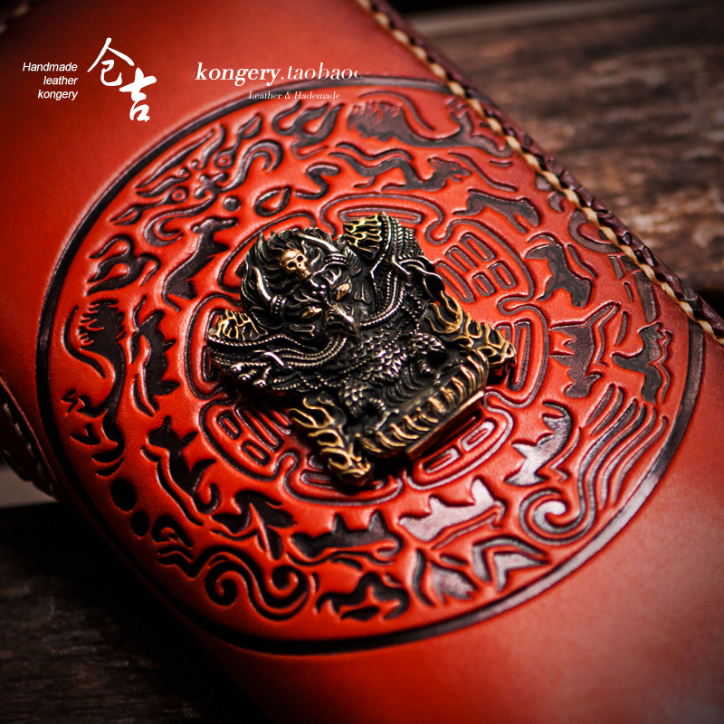 Mystery Tibet Avatar Three dimensional relief Handmade Genuine Leather mens wallet Long zipper embossed women wallets and hand in Wallets from Luggage Bags