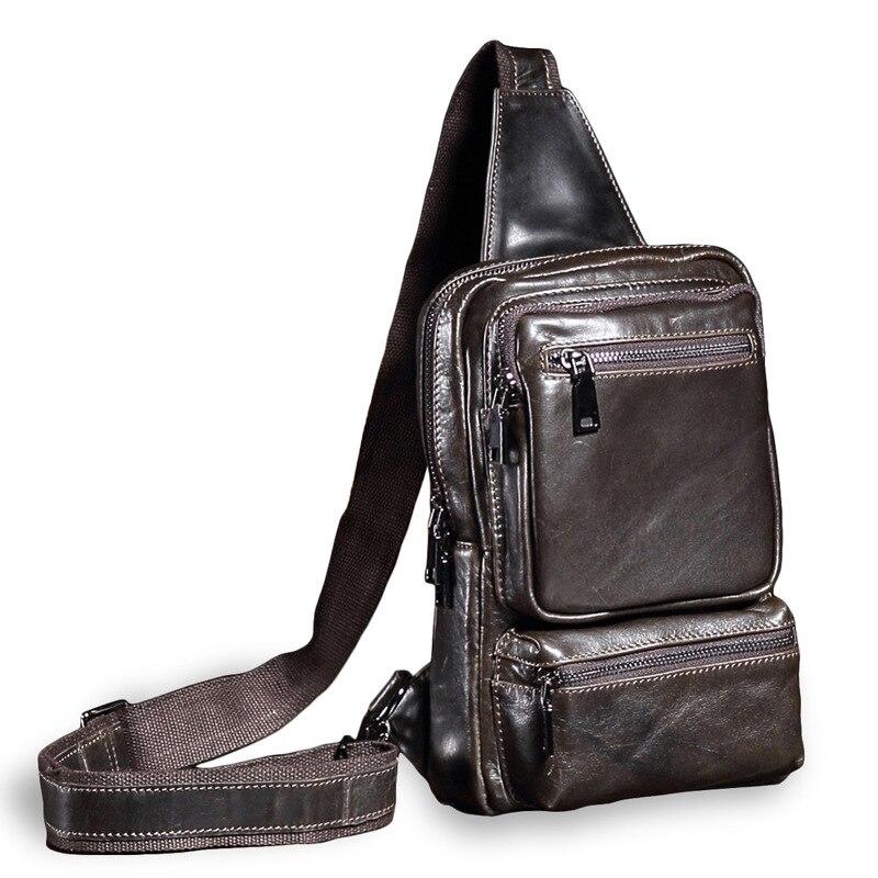 купить Uniego Vintage Genuine Leather Men Messenger Bag Multifunction Chest Bags Male Travel Crossbody Bag Single Shoulder Bags HB220 по цене 3552.19 рублей