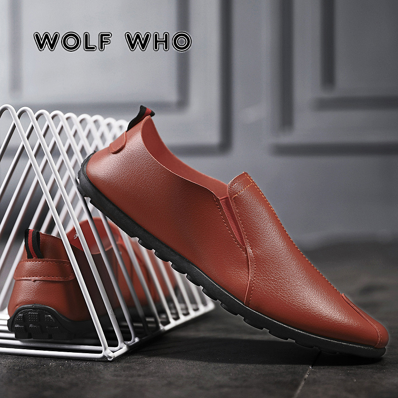 WOLF WHO 2019 Trendy Spring Men Loafers Shoes Ultralight Blcak Sneakers Male Leather Breathable Lazy Shoes Tenis Masculino X-001