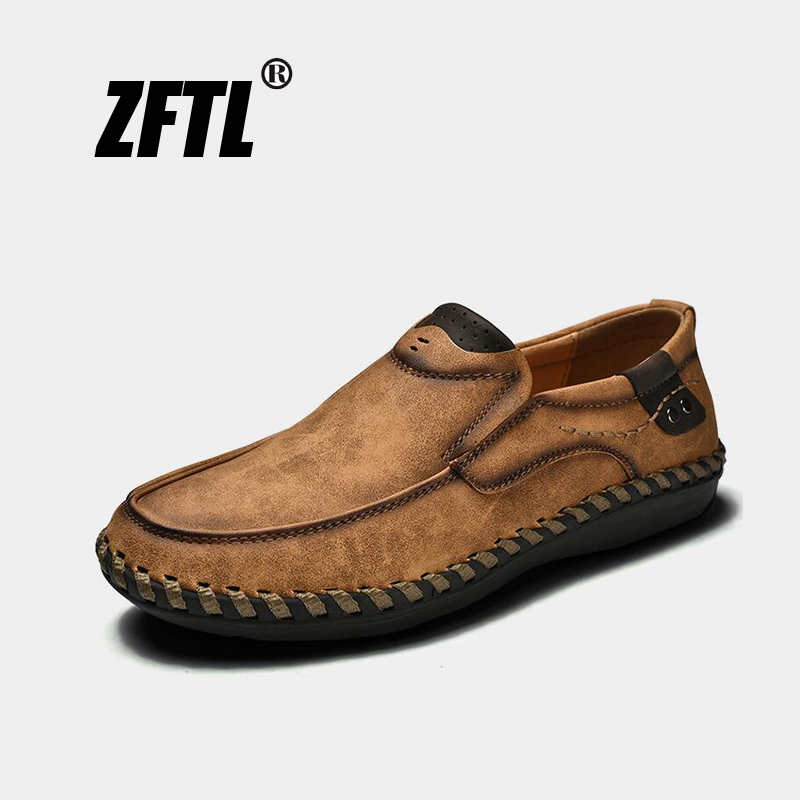 ZFTL New Men s Casual shoes Genuine leather loafers man Business dress shoes Handmade large size