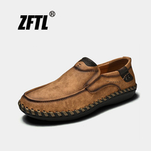 ZFTL New Men's Casual shoes Genuine leather loafers man Business dress shoes Handmade large size 38-46 boat shoes slip-on 036
