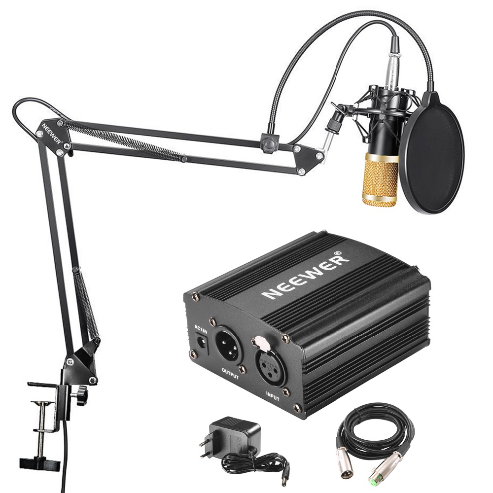 Neewer NW-800 Professional Condenser Microphone & NW-35 Suspension Boom Scissor Arm Stand With XLR Cable And Mounting Clamp